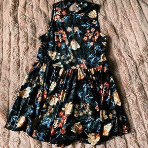 forever 21 • velvet black floral mock neck dress